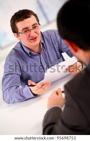 Job interview; two men - stock photo