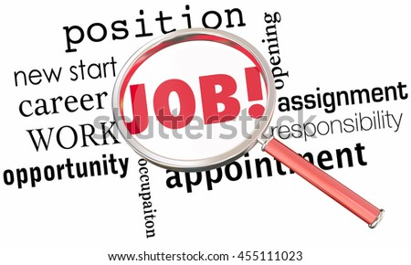 Job Magnifying Glass FInd Best Right Position Work 3d Illustration - stock photo