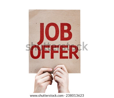 Job Offer card isolated on white background - stock photo