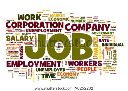 Job related words concept in word tag on white - stock photo