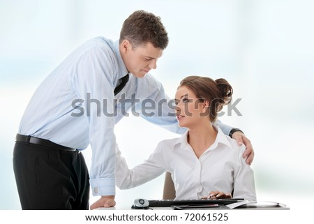 Job romance concept. Business people flitring. - stock photo