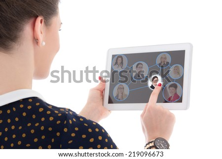 job search concept - woman pressing icons with people portraits on tablet pc isolated on white background - stock photo