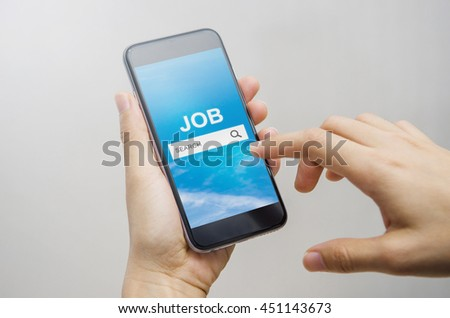 Job Search on mobile smartphone, Human Resources Recruitment Career Concept - stock photo