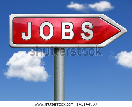 job search vacancy for jobs online job application help wanted hiring now job sign job button job ad advert advertising red road sign arrow with text and word concept - stock photo