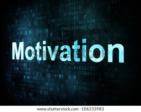 Job, work concept: pixelated words Motivation on digital screen, 3d render - stock photo