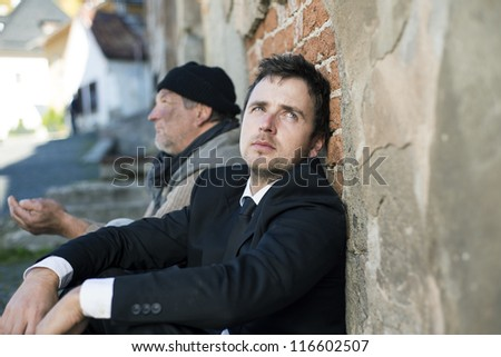Jobless manager is on the street. - stock photo