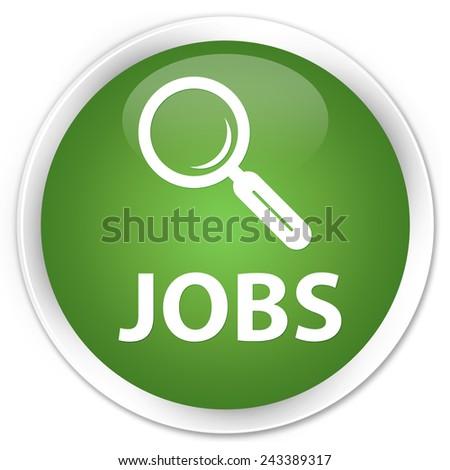 Jobs green round button - stock photo