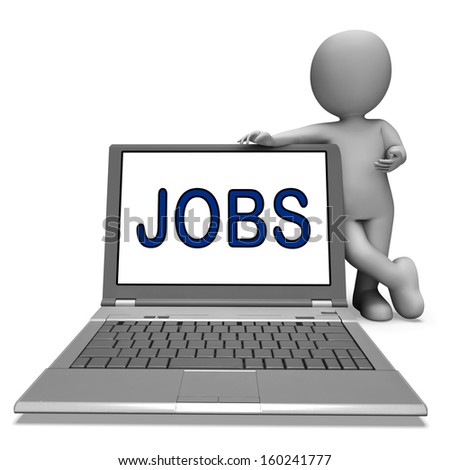 Jobs On Laptop Showing Profession Employment Or Hiring Online - stock photo