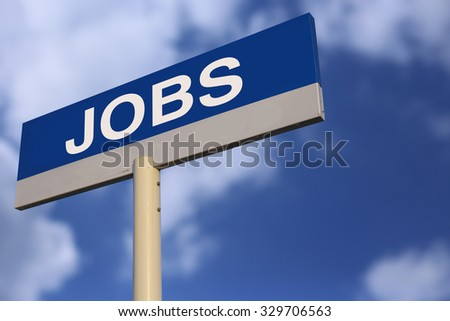Jobs Road Sign with cloudy blue sky background. - stock photo