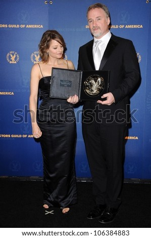 Jodie Foster and David Fincher in the press room at the 61st Annual DGA Awards. Hyatt Regency Century Plaza, Los Angeles, CA. 01-31-09 - stock photo