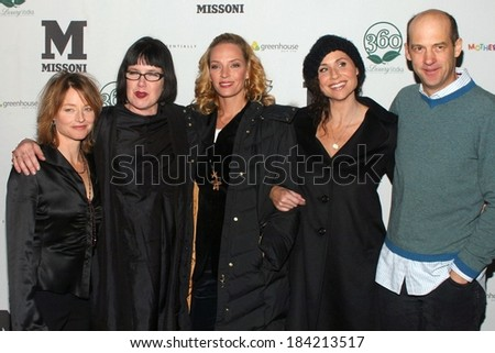 Jodie Foster, Katherine Dieckmann, Uma Thurman, Minnie Driver, Anthony Edwards at MOTHERHOOD Premiere After Party at Sundance Film Festival, Greenhouse at The Sky Lodge, Park City, Jan 21, 2009 - stock photo