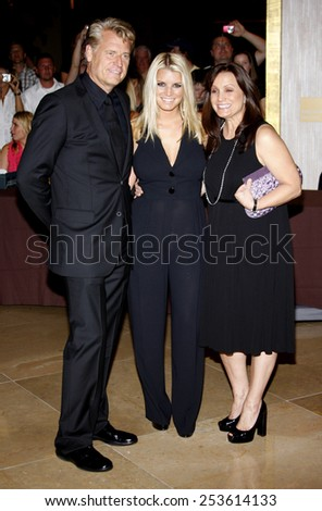 Joe Simpson, Jessica Simpson and Tina Simpson at the Operation Smile's 8th Annual Smile Gala held at the Beverly Hilton Hotel in Beverly Hills, California, United States on October 2, 2009.  - stock photo