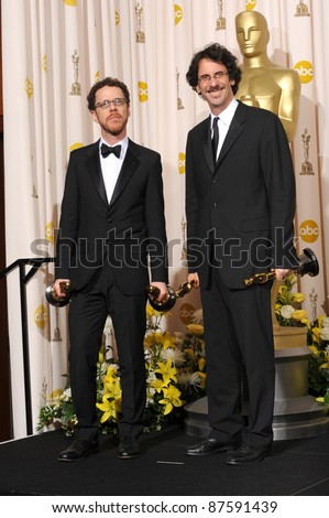 Joel Cohen & Ethan Cohen at the 80th Annual Academy Awards at the Kodak Theatre, Hollywood. February 24, 2008 Los Angeles, CA Picture: Paul Smith / Featureflash - stock photo