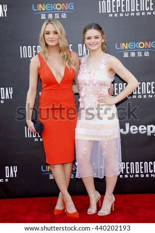 Joey King and Hunter King at the Los Angeles premiere of 'Independence Day: Resurgence' held at the TCL Chinese Theatre in Hollywood, USA on June 20, 2016. - stock photo