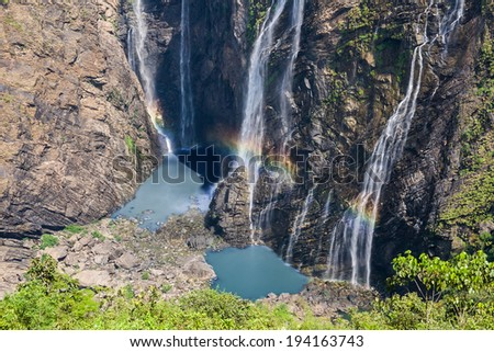 Jog or Joga falls in India. A wonder of nature falling over 800 feet into the reservoir below. It is the fifth tallest waterfall in all of Asia. - stock photo