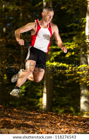 Jogger in trailrunning in a forest - stock photo