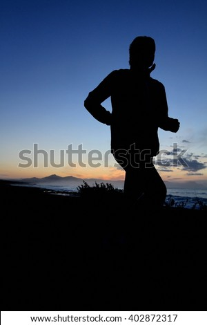 Jogger silhouette - stock photo