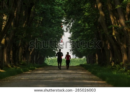 jogging people - stock photo
