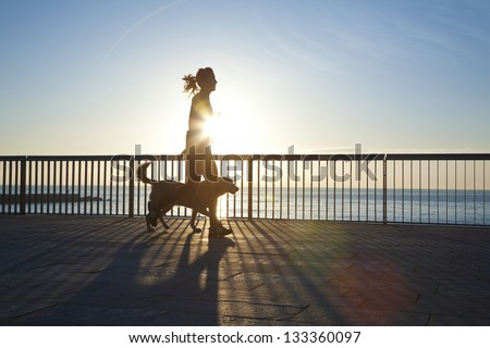 jogging with dog - stock photo