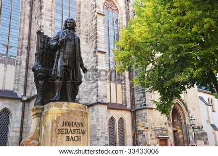 Johann Sebastian Bach (1685 - 1750), German composer and organist. This large Bach monument was created by Carl Seffner in 1908. - stock photo