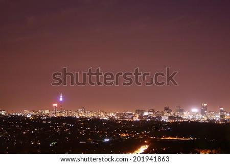 johannesburg skyline at night  - stock photo