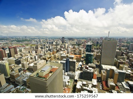 Johannesburg Skyline from top of South Africa - stock photo
