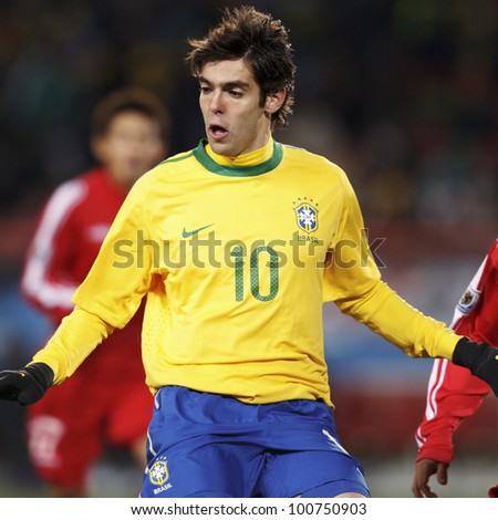 JOHANNESBURG, SOUTH AFRICA - JUNE 15:  Kaka of Brazil in action during a FIFA World Cup match June 15, 2010 in Johannesburg, South Africa.  Editorial use only.  No pushing to mobile device use. - stock photo