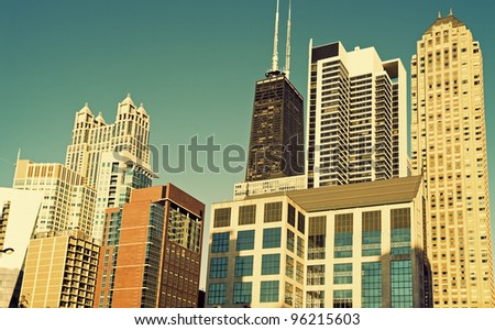 John Hancock Building area in the center of Chicago, Illinois, USA - stock photo