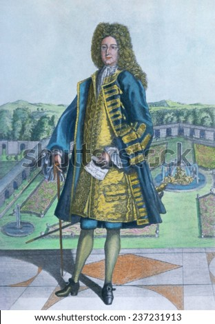 John Law 167 1- 1729 as Controller General of Finances of France under King Louis XIV, 18th century engraving by Leonardus Schenk with modern water color. - stock photo