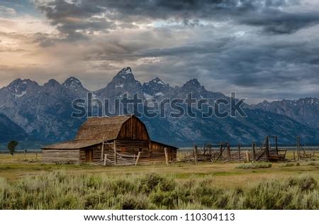 John Moulton barn on Mormon Row at Grand Teton National Park near Jackson, Wyoming - stock photo