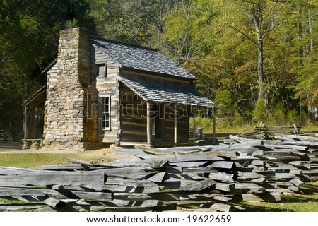 John Oliver Cabin, Cades Cove, Great SMoky Mountains National Park - stock photo
