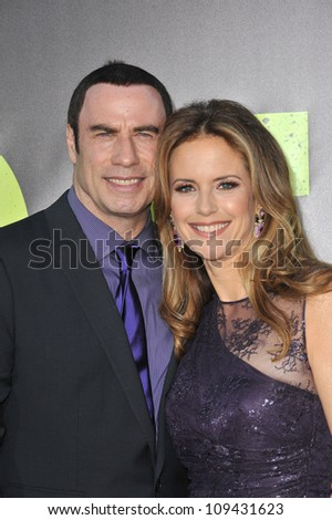 """John Travolta & wife Kelly Preston at the world premiere of his movie """"Savages"""" at Man Village Theatre, Westwood. June 26, 2012  Los Angeles, CA Picture: Paul Smith / Featureflash - stock photo"""