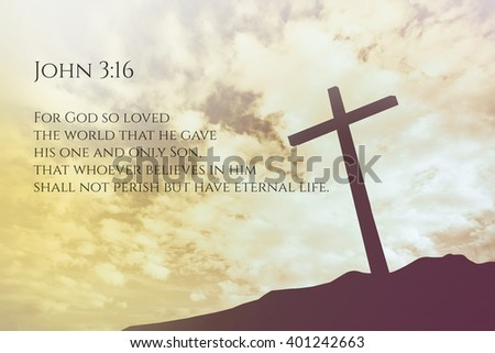John 3:16 Vintage Bible Verse Background on one cross on a hill - stock photo