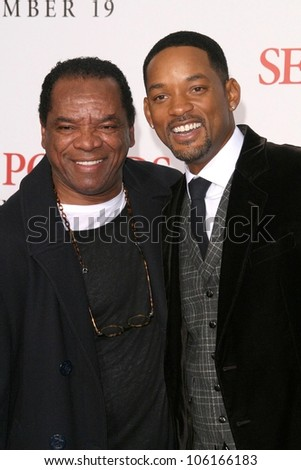 John Witherspoon and Will Smith   at the Los Angeles Premiere of 'Seven Pounds'. Mann Village Theatre, Westwood, CA. 12-16-08 - stock photo
