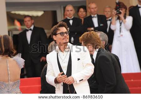 """Johnny Depp at the gala screening for his movie """"Pirates of the Caribbean: On Stranger Tides"""" at the 64th Festival de Cannes. May 14, 2011  Cannes, France Picture: Paul Smith / Featureflash - stock photo"""