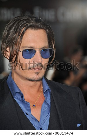 """Johnny Depp at the Los Angeles premiere of his new movie """"Public Enemies"""" at Mann Village Theatre, Westwood. June 23, 2009  Los Angeles, CA Picture: Paul Smith / Featureflash - stock photo"""