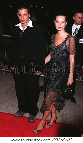 """JOHNNY DEPP & girlfriend supermodel KATE MOSS at the premiere of his new movie, """"Donnie Brasco,"""" in which he stars with Al Pacino. 1997 Pix: PAUL SMITH - stock photo"""