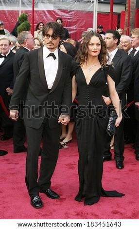 Johnny Depp, Vanessa Paradis at RED CARPET - 80th Annual Academy Awards Oscars Ceremony, The Kodak Theatre, Los Angeles, CA, February 24, 2008  - stock photo