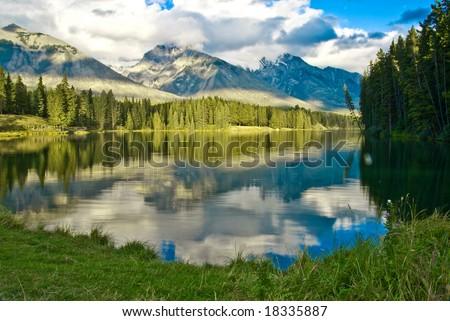 Johnson lake in Banff - stock photo