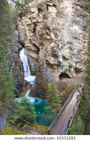 Johnston Canyon Falls in the Fall, Alberta, Canada - stock photo