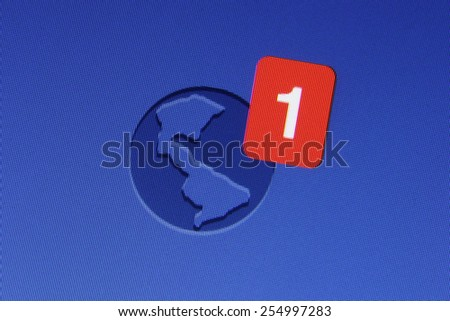 Johor, Malaysia - Jun 17, 2014: Facebook notification icon on computer monitor, Facebook is a popular free social networking website in the world, Jun 17, 2014 in Johor, Malaysia. - stock photo