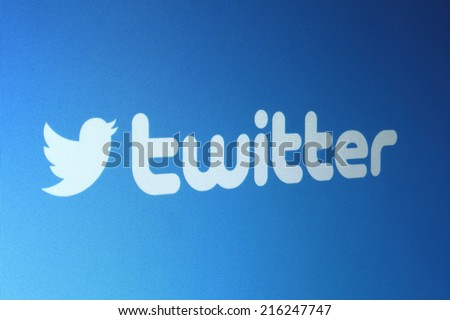 Johor, Malaysia - Jun 17, 2014: Twitter logo on computer screen, Twitter is a popular free social networking website in the world, Jun 17, 2014 in Johor, Malaysia. - stock photo