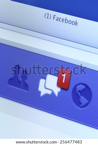 Johor, Malaysia - May 06, 2014: Facebook message on computer screen. Facebook is the world's largest social network, May 06, 2014 in Johor, Malaysia. - stock photo
