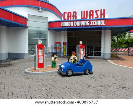 JOHOR MALAYSIA  - NOVEMBER 11:  Junior Driving School and Car Wash LEGOLAND Malaysia Theme Park November 11, 2014  in Johor, Malaysia - stock photo