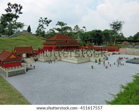 JOHOR MALAYSIA  - NOVEMBER 11:  The Forbidden City and Great Wall, China LEGOLAND MINILAND Malaysia Theme Park November 11, 2014  in Johor, Malaysia - stock photo