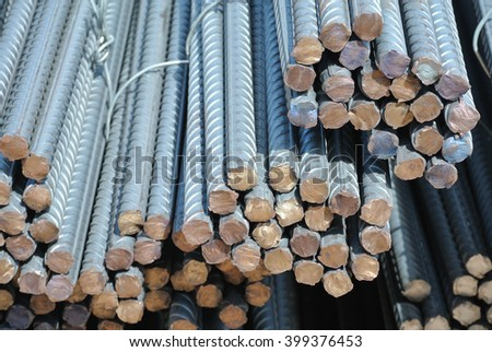 JOHOR, MALAYSIA -SEPTEMBER 19, 2015: Hot rolled deformed steel bars or steel reinforcement bar. The reinforcement bar is part of building strcture function to strengten the concrete.   - stock photo