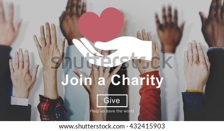 Join Charity Heart Hand Symbol Concept - stock photo