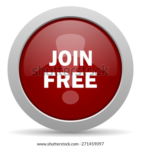 join free red glossy web icon  - stock photo