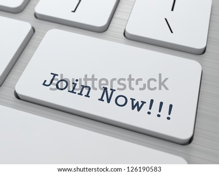 Join Now - Button on Modern Computer Keyboard. - stock photo