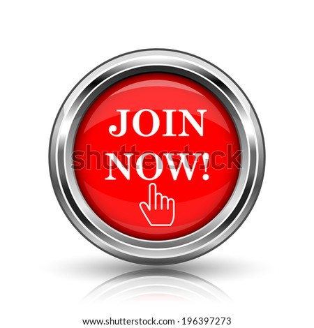 Join now icon. Shiny glossy internet button on white background.  - stock photo